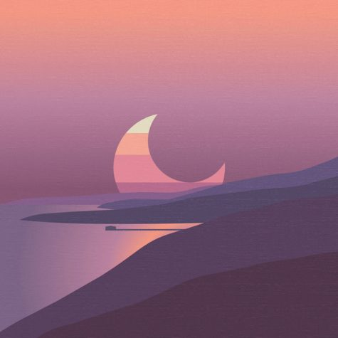 The album cover of Surfaces deluxe album features a vibrant purple sunset complete with a rising moon.