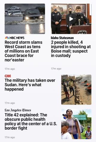 A screenshot from the Apple News app, featuring stories from a variety of news sources