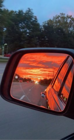 A sunset I saw in my mirror on the way home from dance.