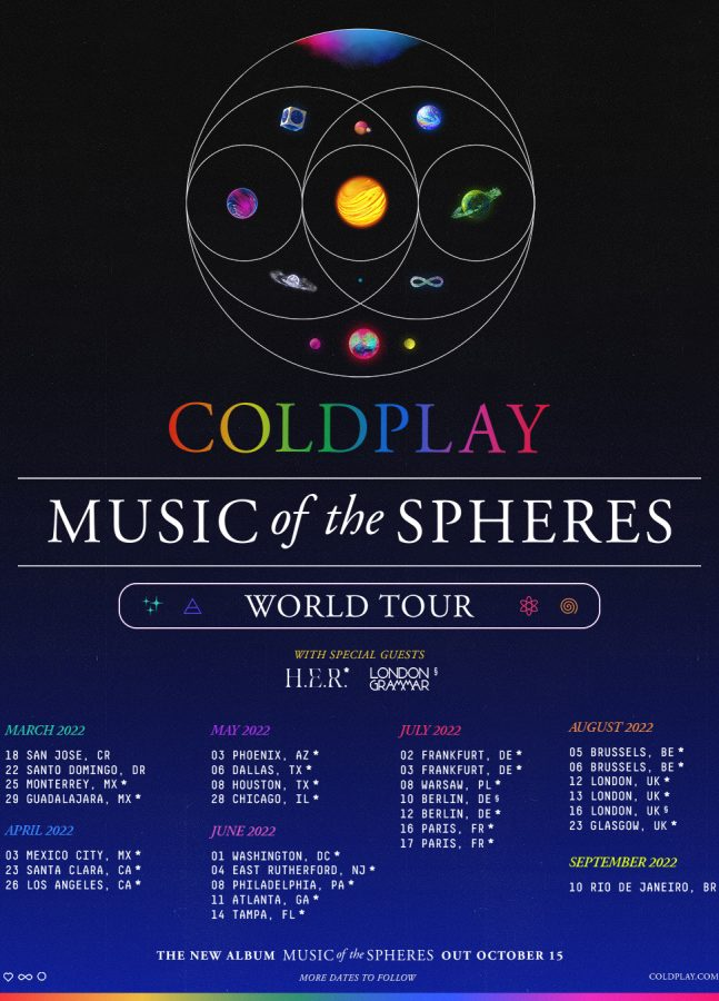 The Music of the Spheres tour schedule, which will begin in March 2022