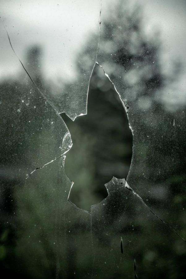 Broken glass representing a breakup